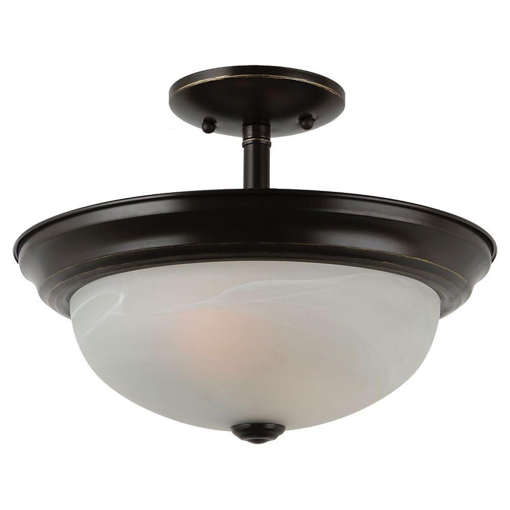 Windgate 2-Light Heirloom Bronze Semi-Flush Mount Convertible Pendant