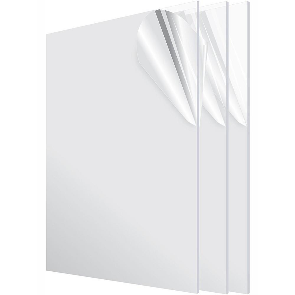 AdirOffice 24 in. x 48 in. x 1/8 in. Clear Plexiglass Acrylic Sheet (3-Pack)