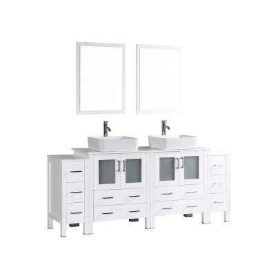 84 in. W Double Bath Vanity in White with Pheonix Stone Vanity Top with White Basin and Mirror