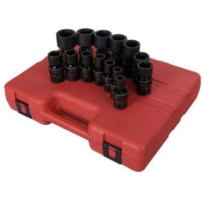 1/2 in. Drive SAE Universal Impact Socket Set (14-Piece)