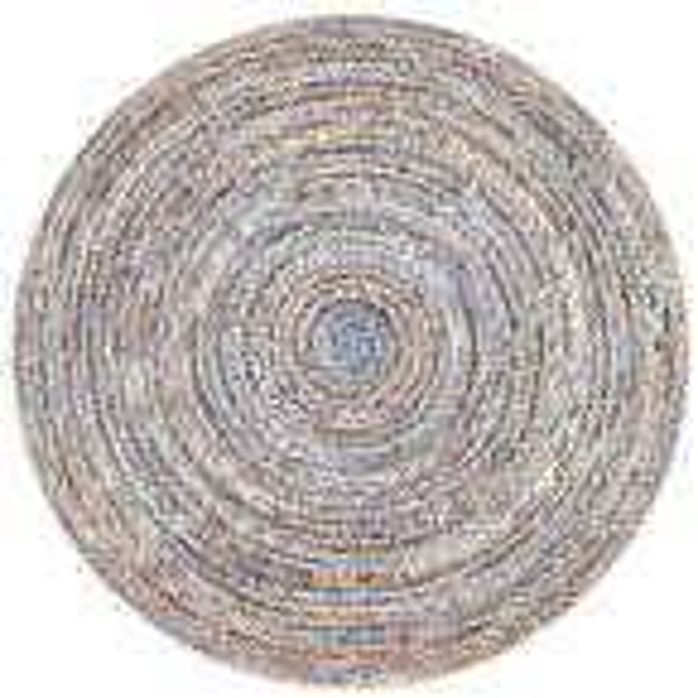 Dara Striped Coastal Jute Blue 6' Round Rug
