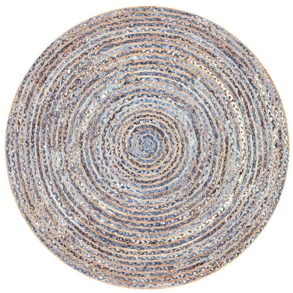 Blue And White Circle Rug: NuLOOM Striped Dara Jute Blue 8 Ft. X 8 Ft. Round Area Rug
