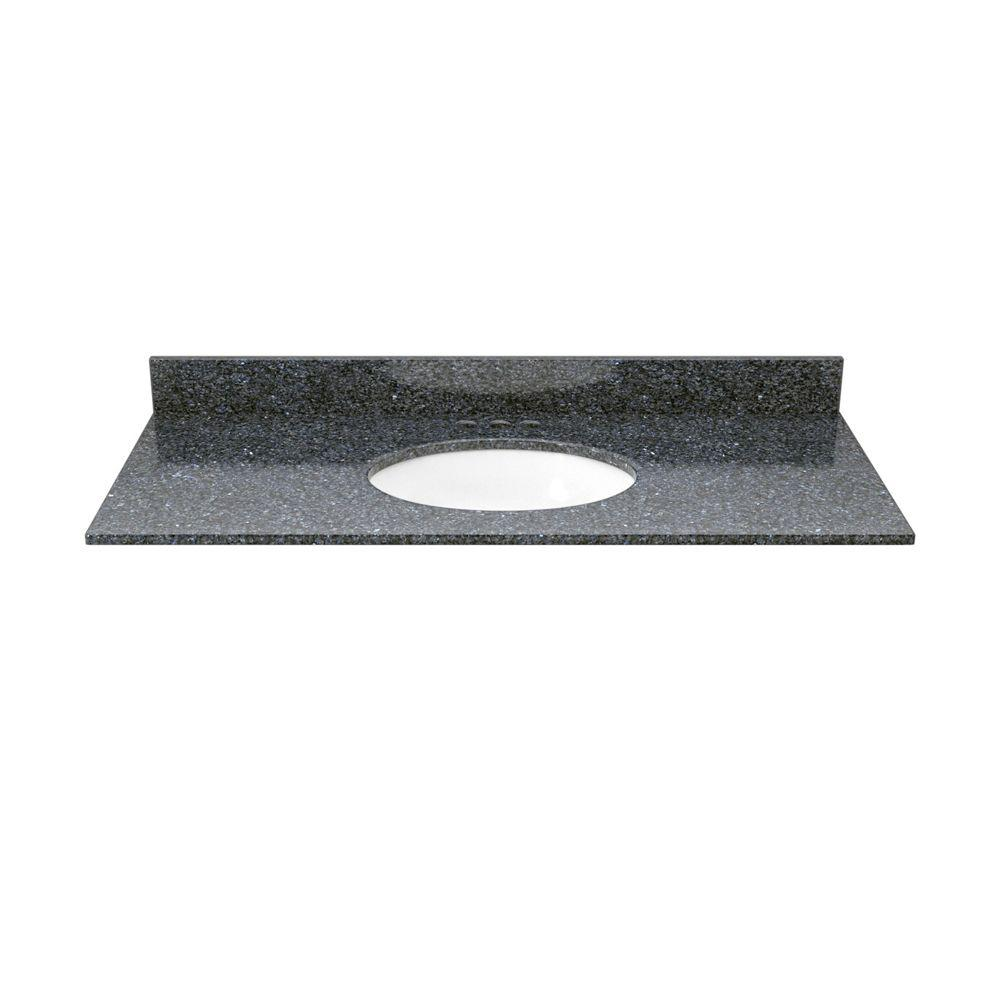 Solieque 37 in. Granite Vanity Top in Blue Pearl with White Basin