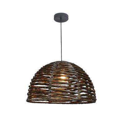 Laura 1-Light Dark Brown Pendant Dome