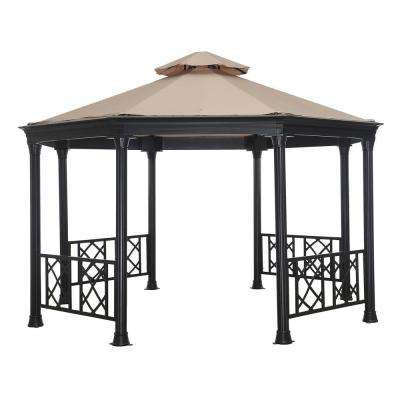 Waverly 13.7 ft. x 12 ft. Beige Steel Soft Top Gazebo