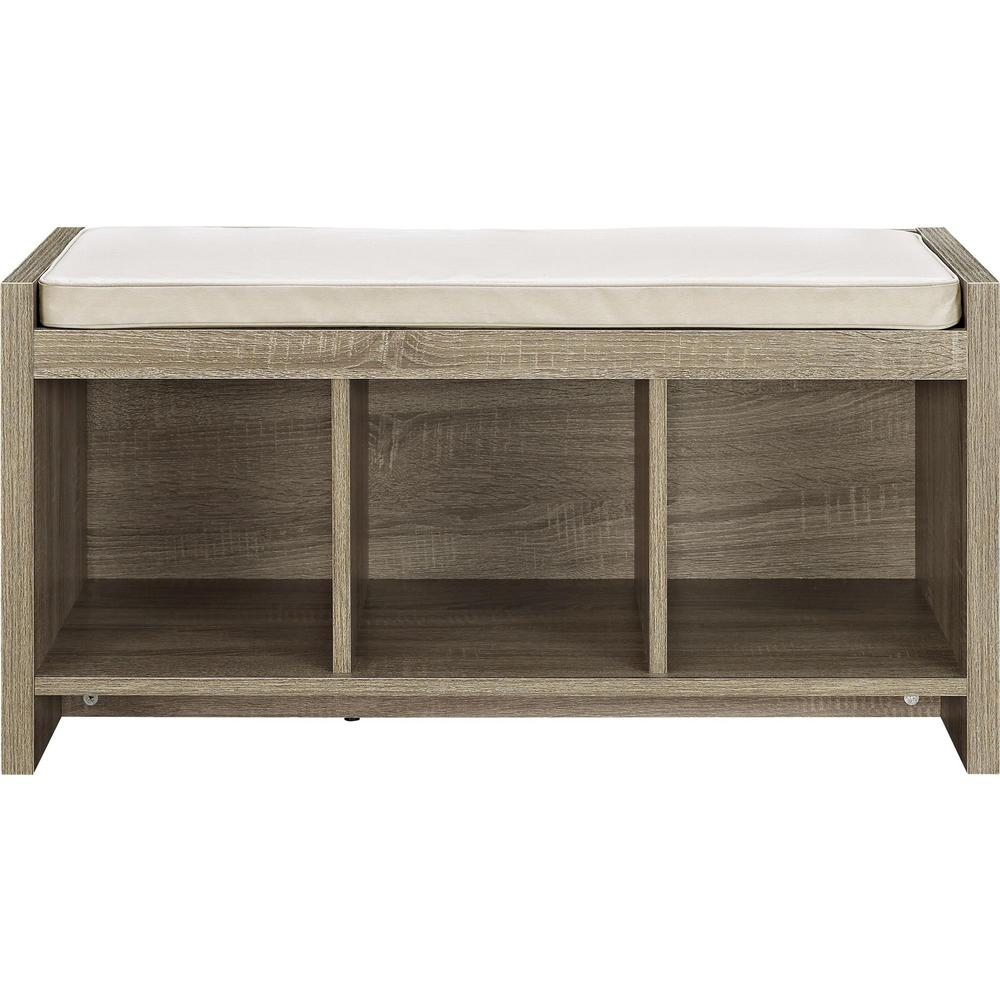 Ameriwood Pebblebrook Weathered Oak Entryway Storage Bench Cushion Product Photo