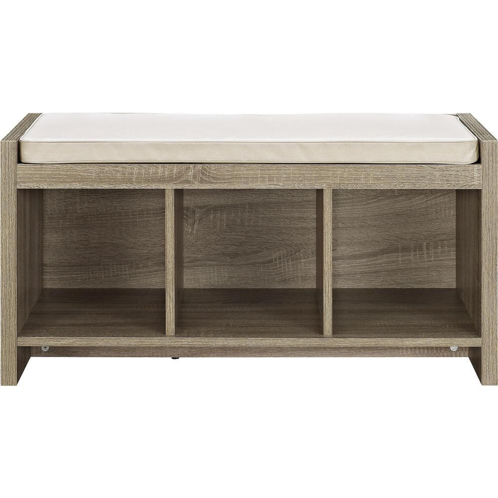 Ameriwood Pebblebrook Weathered Oak Entryway Storage Bench With Cushion