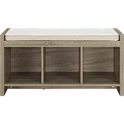 Pebblebrook Weathered Oak Entryway Storage Bench with Cushion