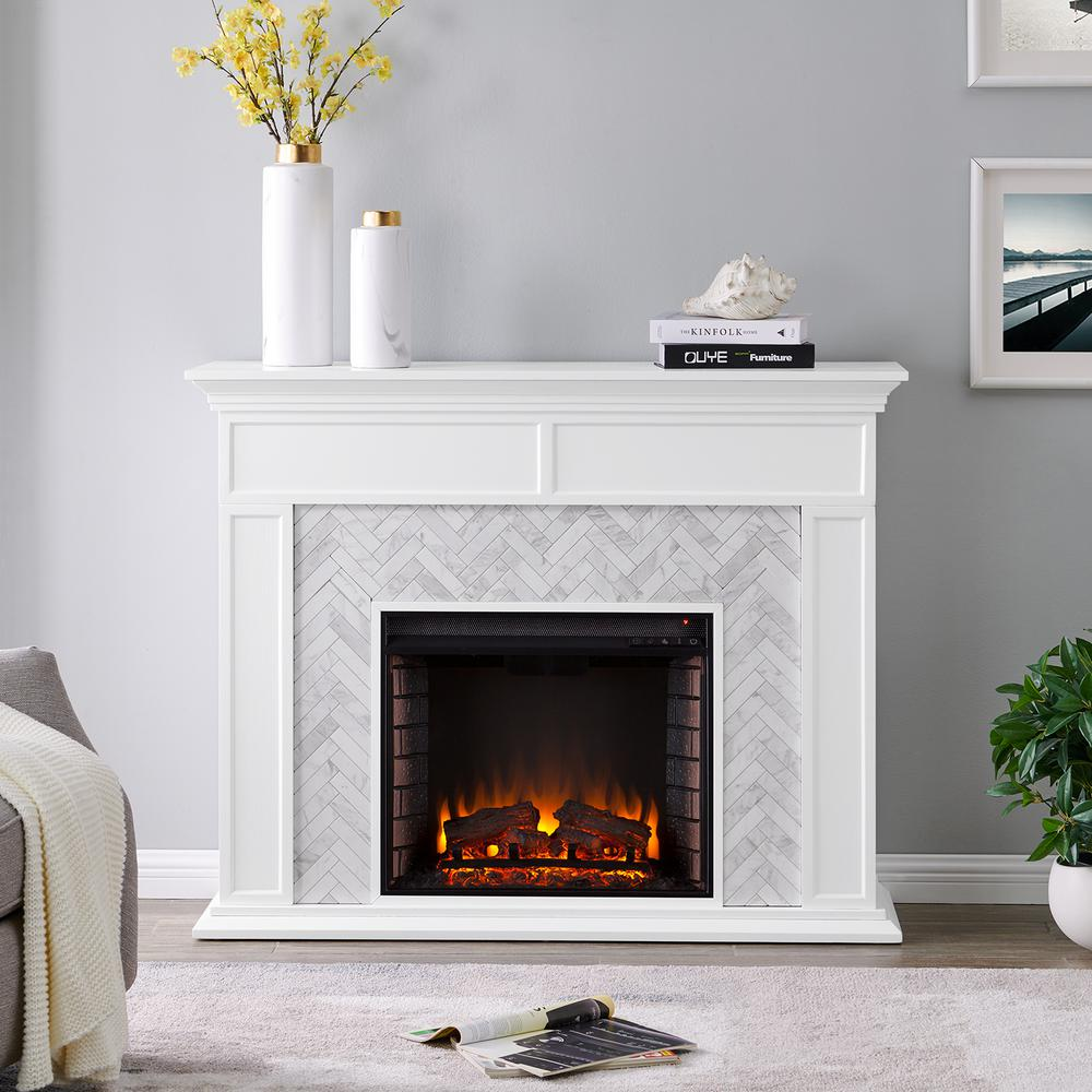 Southern Enterprises Doris Marble Tiled 50 In Electric Fireplace
