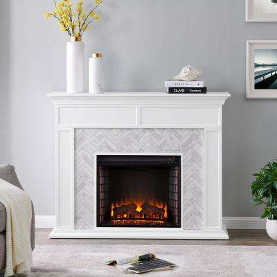Doris Marble Tiled 50 in. Electric Fireplace in White and Gray
