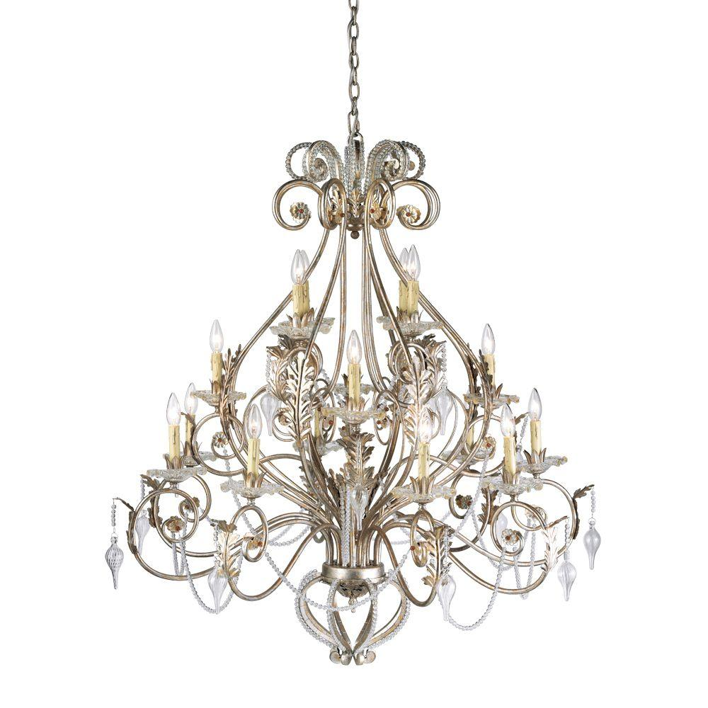 Hampton Bay Allure 16-Light Antique Silver Chandelier
