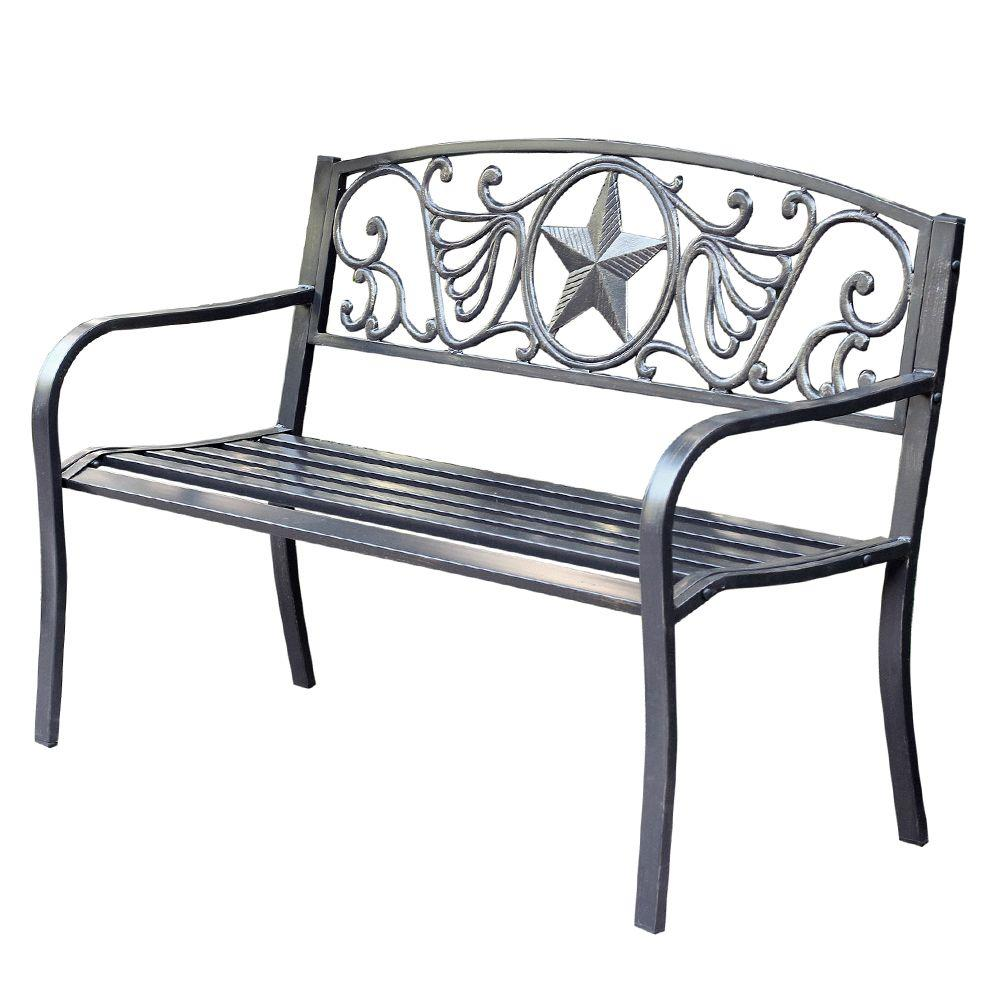 Jeco 50 in. Star Curved Back Steel Park Bench