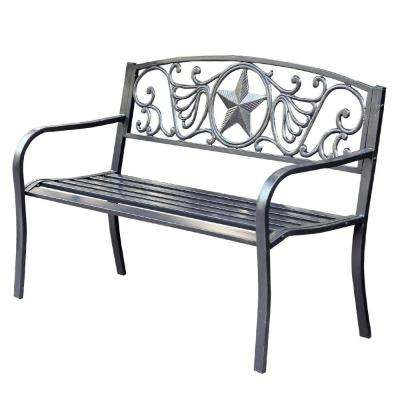 50 in. Star Curved Back Steel Park Bench
