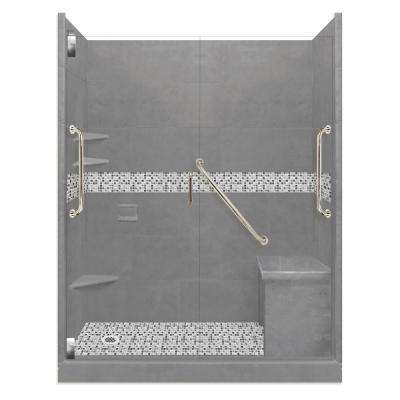 Del Mar Freedom Grand Hinged 30 in. x 60 in. x 80 in. Left Drain Alcove Shower Kit in Wet Cement and Satin Nickel
