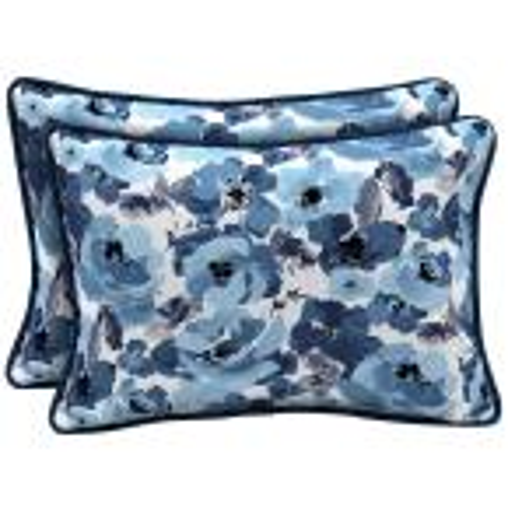 22 x 15 Garden Delight Reversible Oversized Lumbar Outdoor Throw Pillow (2-Pack)