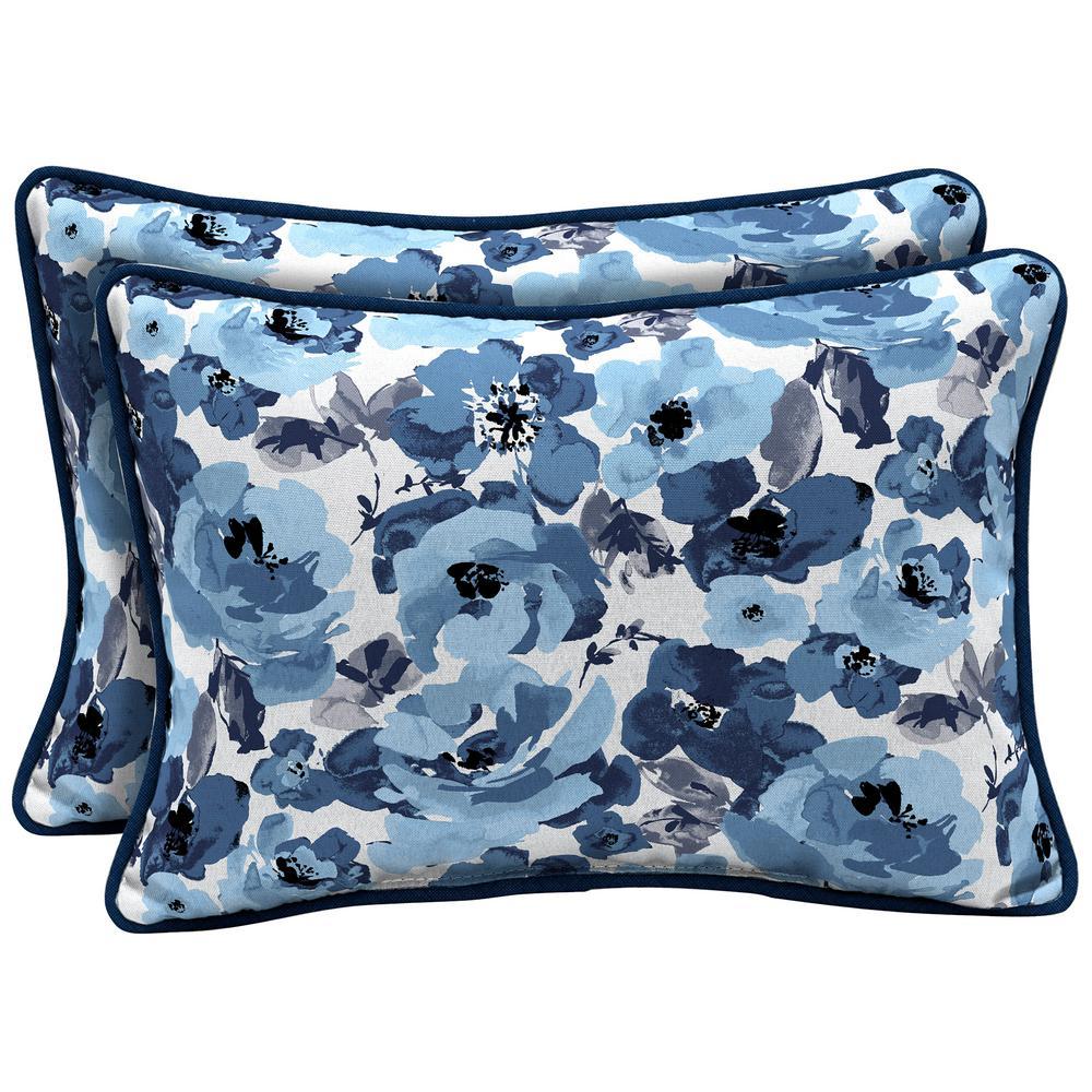 Garden Delight Reversible Oversized Lumbar Outdoor Throw Pillow (2-Pack)