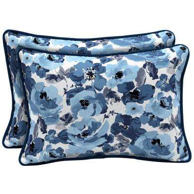 Garden Delight Reversible Oversized Lumbar Outdoor Throw Pillow (2-Pack)