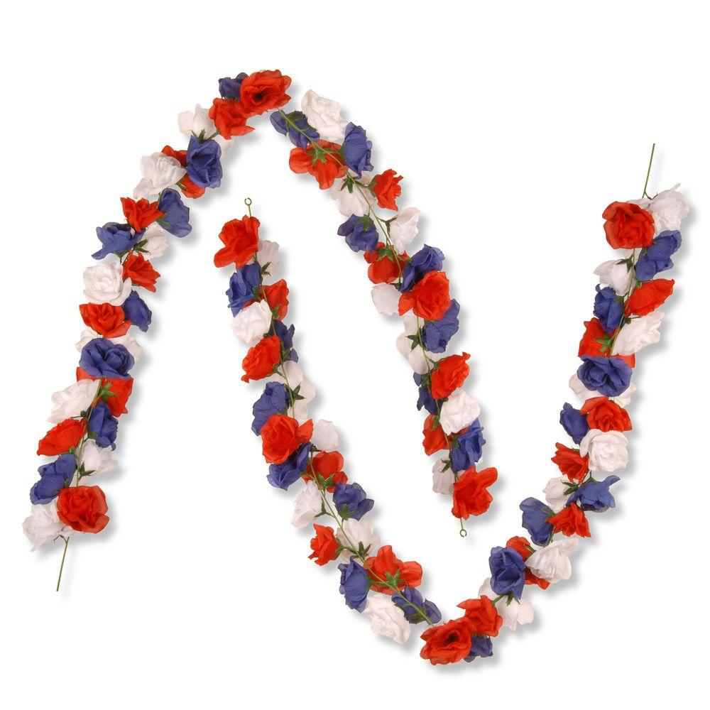 6 ft. Patriotic Rose Garland (Set of 2)
