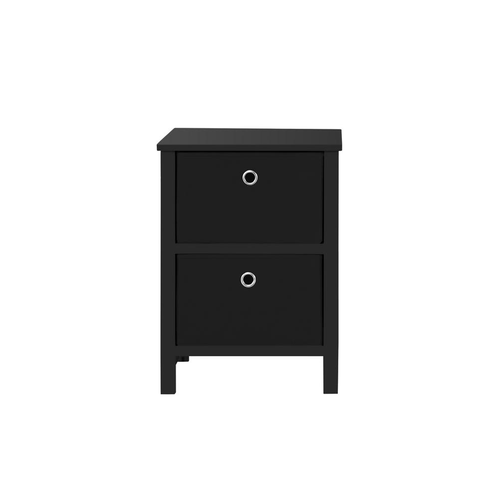 EZ Home Solutions 2-Drawer Black Foldable Night Stand