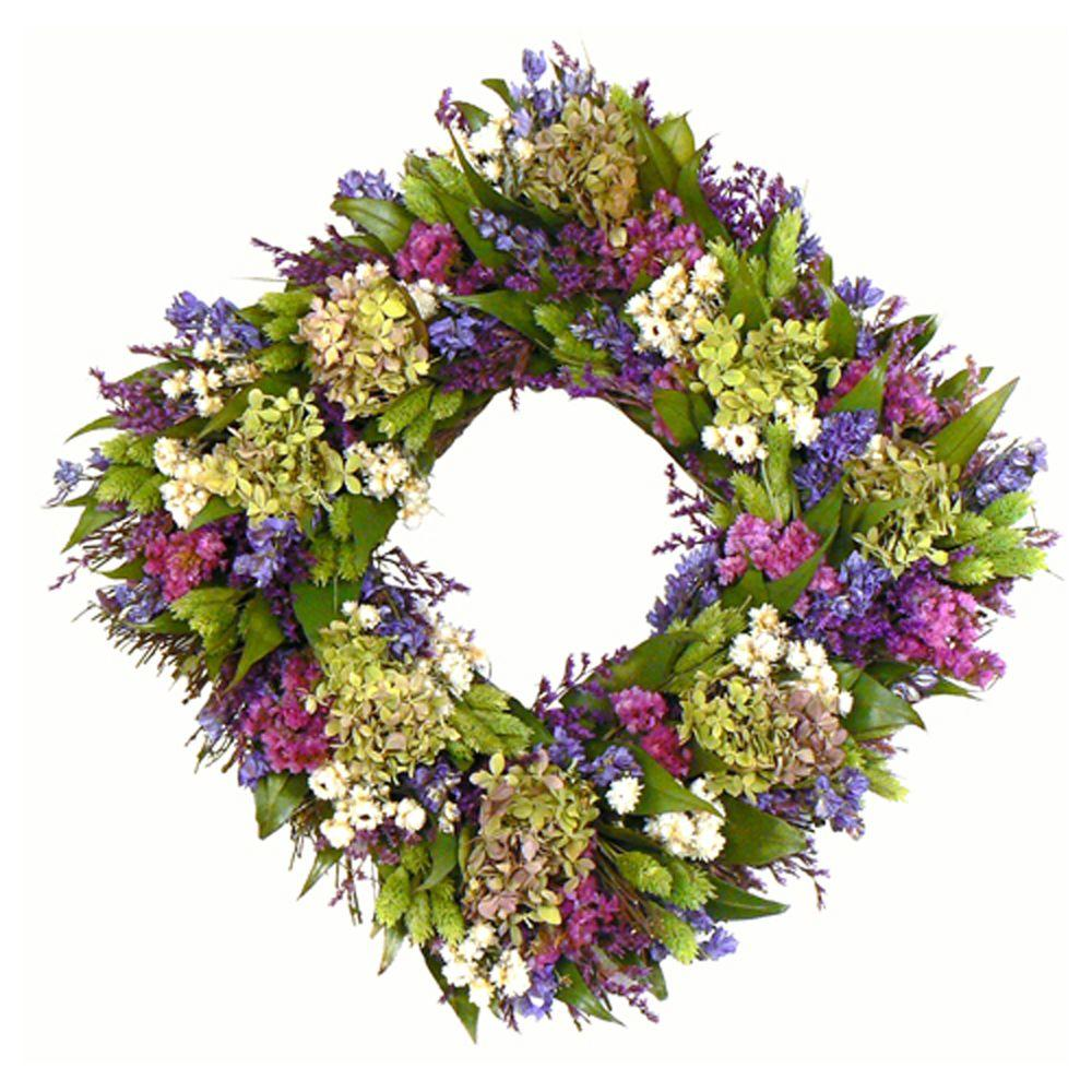 The Christmas Tree Company Cheerful Spring 17 in. Dried Floral Square Wreath