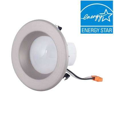 4 in. Brushed Nickel Trim Integrated LED Recessed Ceiling Light, 3000K, 95 CRI, 632 Lumen
