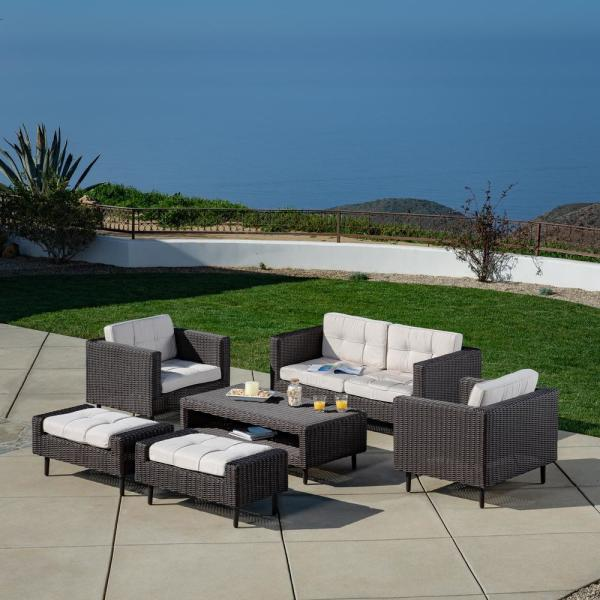 Tampa 6-Piece All-Weather Wicker Patio Conversation Deep Seating Set with Sunbrella Beige Cushions
