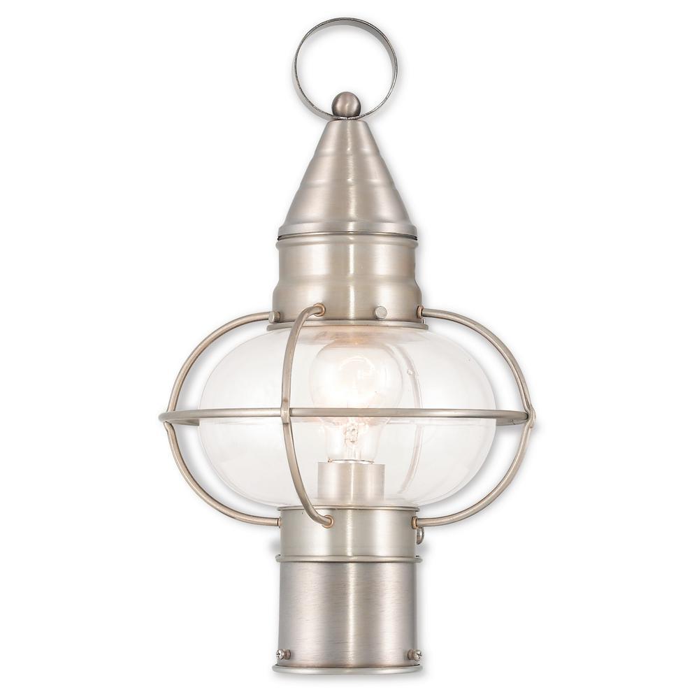 Newburyport 1-Light Outdoor Brushed Nickel Post Light
