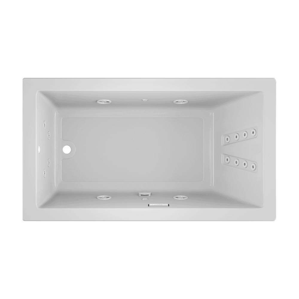 JACUZZI SOLNA 66 in. x 36 in. Acrylic Rectangular Drop-in Reversible Whirlpool Bathtub in White