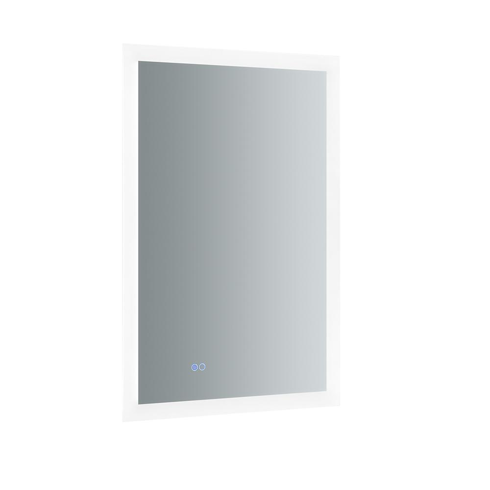 Fresca Angelo 24 in. W x 36 in. H Frameless Single Bathroom Mirror with Halo Style LED Lighting and Mirror Defogger