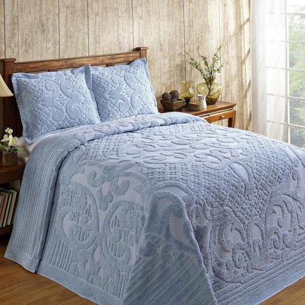 Ashton Collection in Medallion Design Blue Queen 100% Cotton Tufted Chenille Bedspread