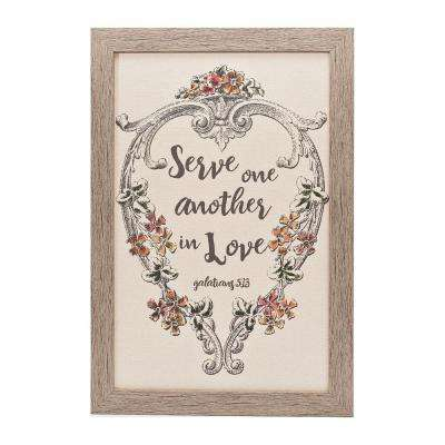 "Homespun Faith ""Serve One Another"" by Carpentree Framed Natural Canvas Wall Art"