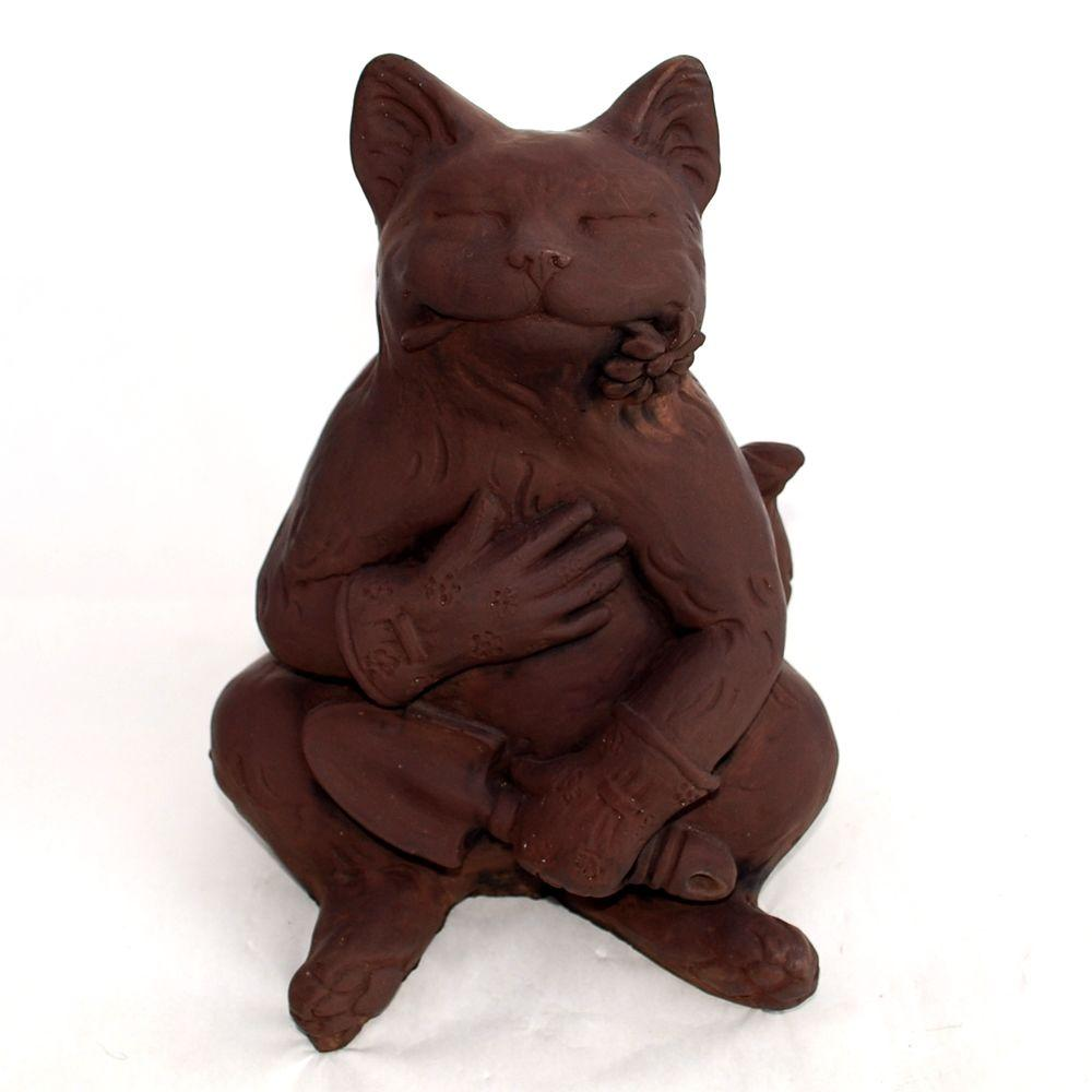 Cast Stone Gardening Cat Statue   Dark Walnut