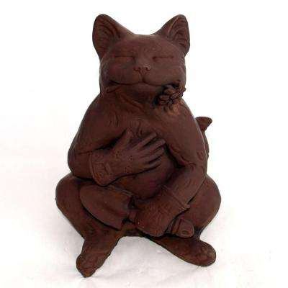 Cast Stone Gardening Cat Statue - Dark Walnut