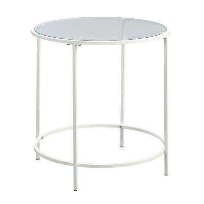 Anda Norr White Glass Top End/Side Table