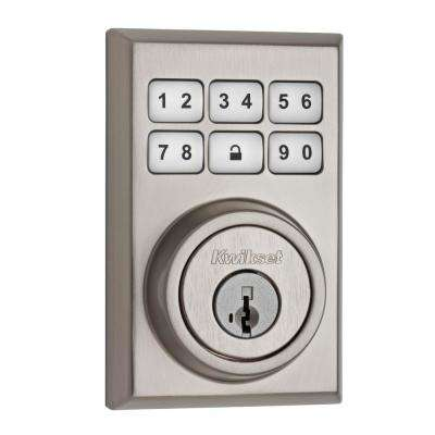 SmartCode 909 Contemporary Single Cylinder Satin Nickel Electronic Deadbolt featuring SmartKey