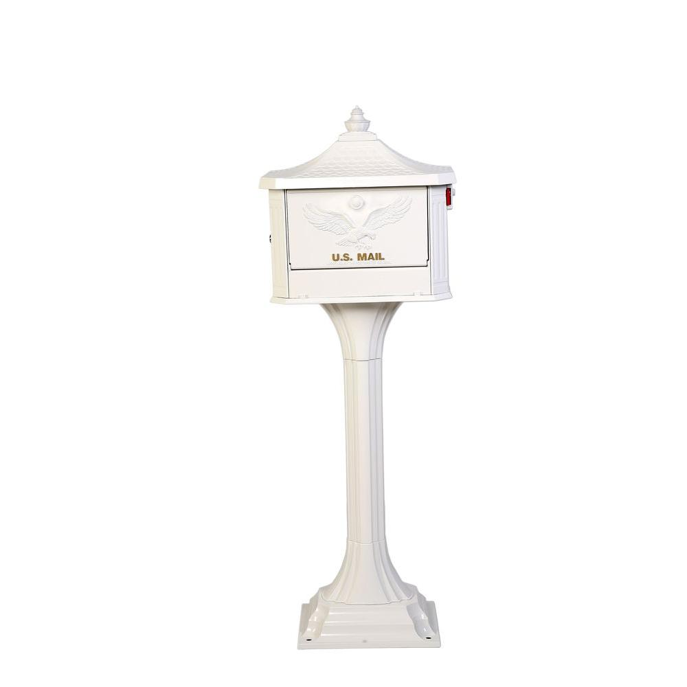 Gibraltar Mailbo Pedestal Post Mount Mailbox In White