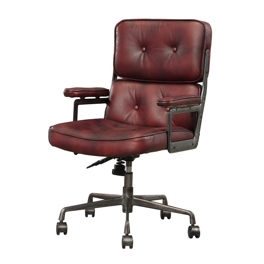 Benjara Red Gray Faux Leather Upholstered Metal Swivel Executive 15768