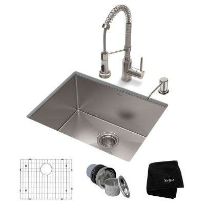Standart PRO All-in-One Undermount Stainless Steel 23 in. Single Bowl Kitchen Sink with Faucet in Stainless Steel