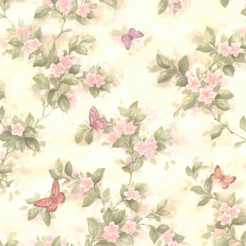 null Mariposa Pink Blossom and Butterfly Wallpaper