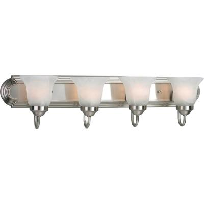 4-Light Brushed Nickel Fluorescent Bathroom Vanity Light with Glass Shades