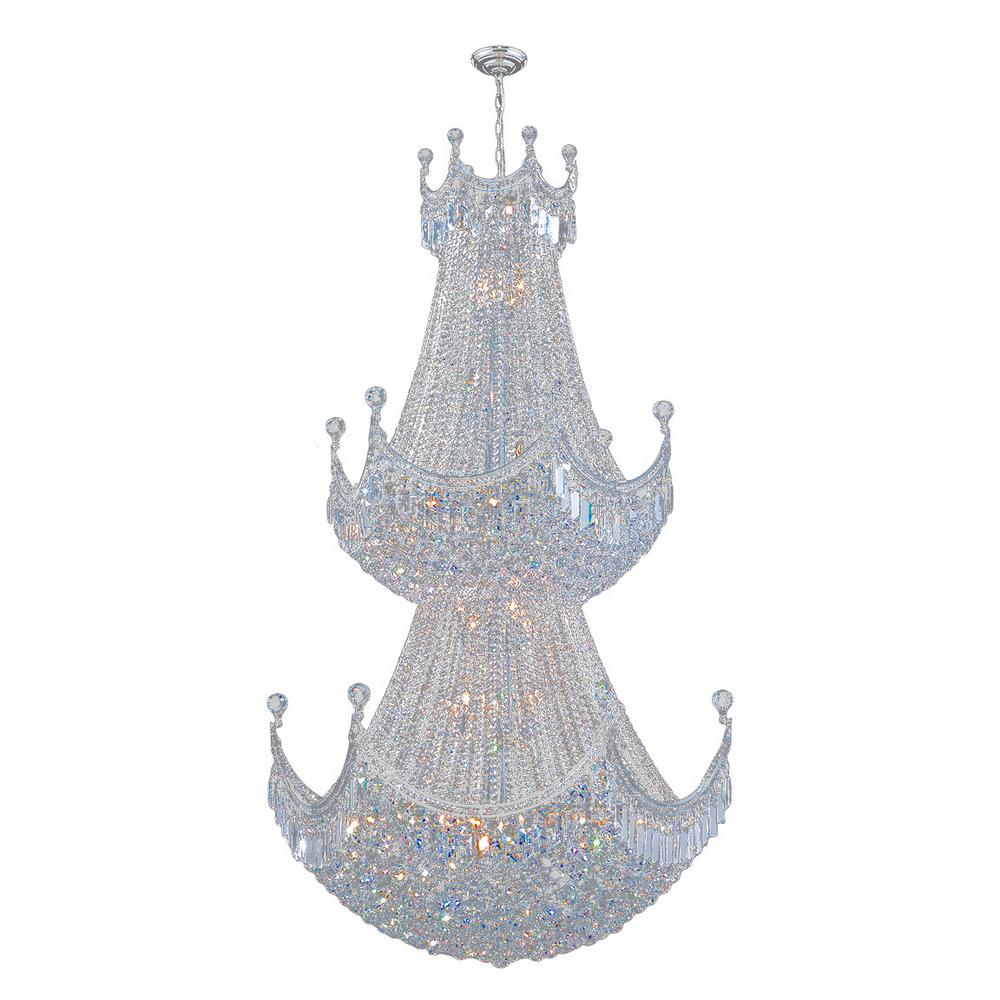 Worldwide Lighting Empire Collection 36-Light Chrome and Crystal Chandelier