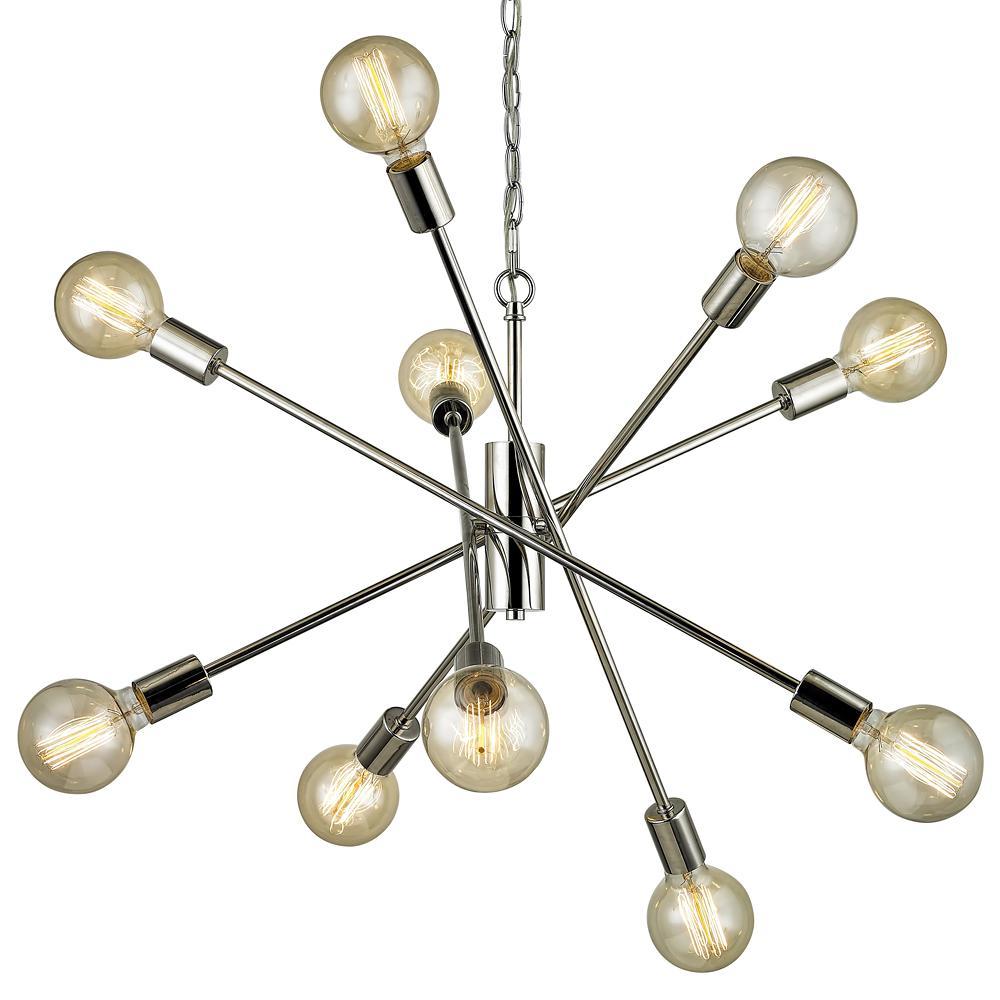 Fife 10-Light Polished Nickel Pendant
