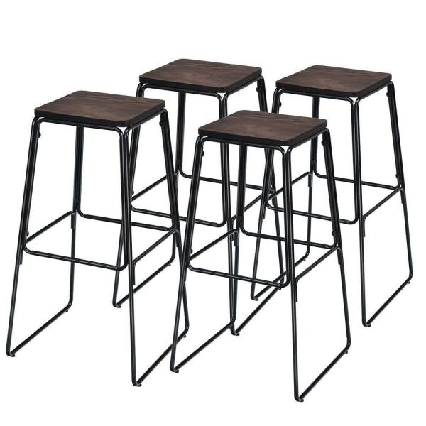 30 in. 4-Piece Black Backless Industrial Bar Stools with Wood Seat