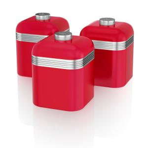 Retro 3-Piece Red Stainless Steel Canisters