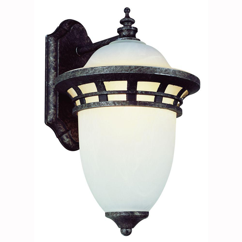 Imperial 1-Light Outdoor Antique Pewter Coach Lantern with Frosted Glass