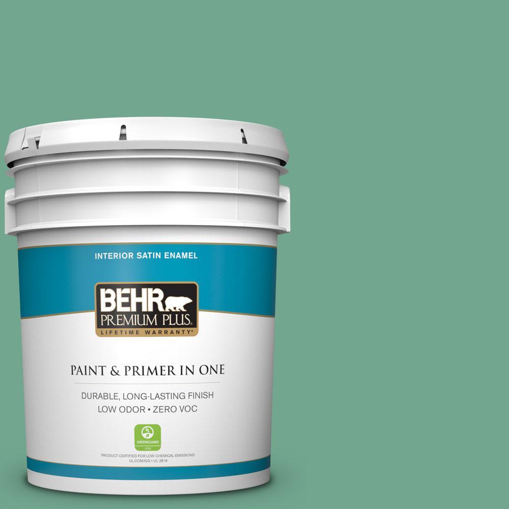 5-gal. #M420-5 Free Green Satin Enamel Interior Paint