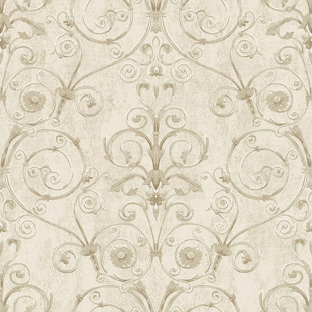 Brewster Curlicue Beige Scroll Wallpaper-IWB00803