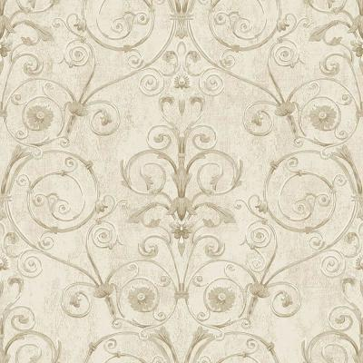 Curlicue Beige Scroll Wallpaper
