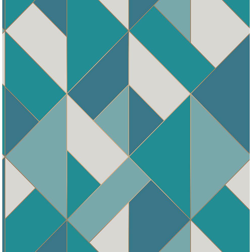 Brewster 56.4 sq. ft. Delano Blue Structured Geo Wallpaper UW24780