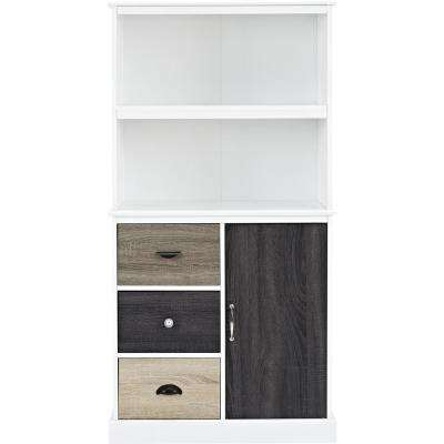 Newbridge White Storage Bookcase with Multicolored Door and Drawer Fronts